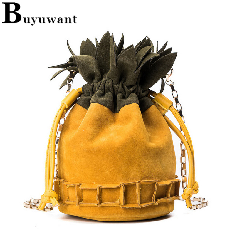 Buyuwant PU Bucket bag Pineapple frosted lady s bag Slant crossbody bag Drawstring Small bucket bag