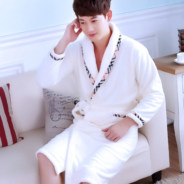 132fe1490f Pajamas Men s Thickened Flannel Male Winter Long Sleeved Bathing Nightgowns Women s  Coral Fleece Adult Warm Homewear