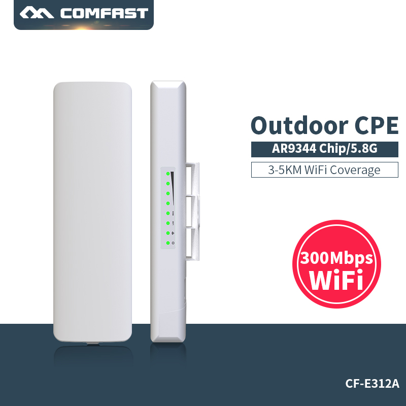 3 km Long Range 5Ghz 300 Mbps high power Wireless Router Outdoor CPE wifi 2*14dBi Antenna Comfast CF-E312A support OpenWRT comfast 750mbps high power router 11ac wifi access point 6 6dbi antenna 600 square meters coverage wireless router cf wr635ac