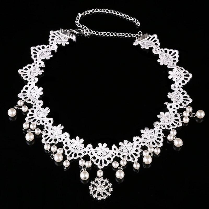 Wholesale Handmade White Lace Pearl Flower Forehead Chain Bride Headband Headdress Women Wedding Hair Jewelry Accessories SL