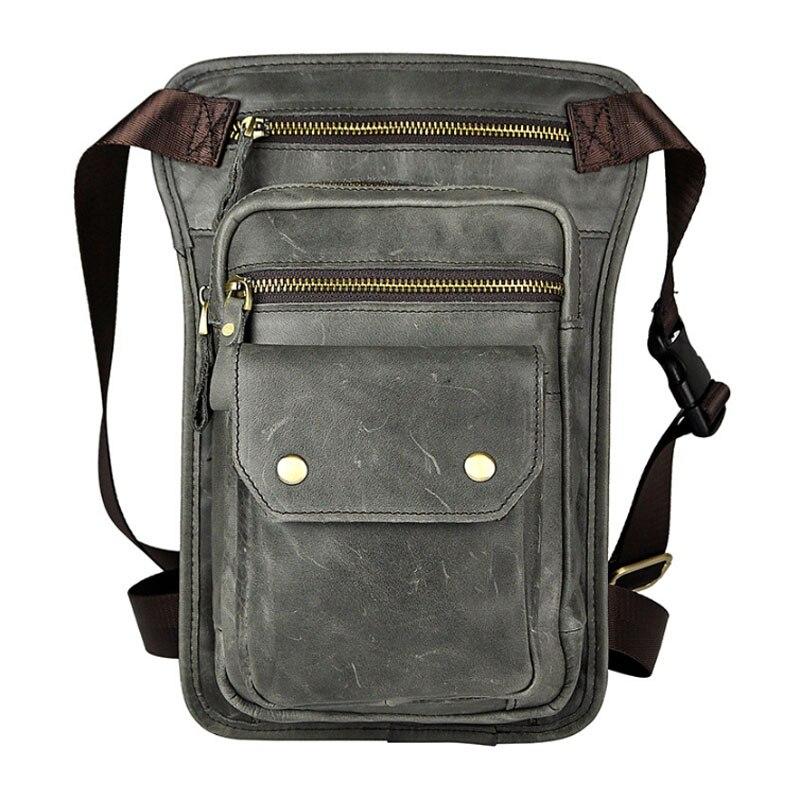 BULLCAPTAIN Men High Quality Waist Drop Leg Bags Genuine Leather Vintage trend Waist Bag famous brand Cross Body Shoulder Pack