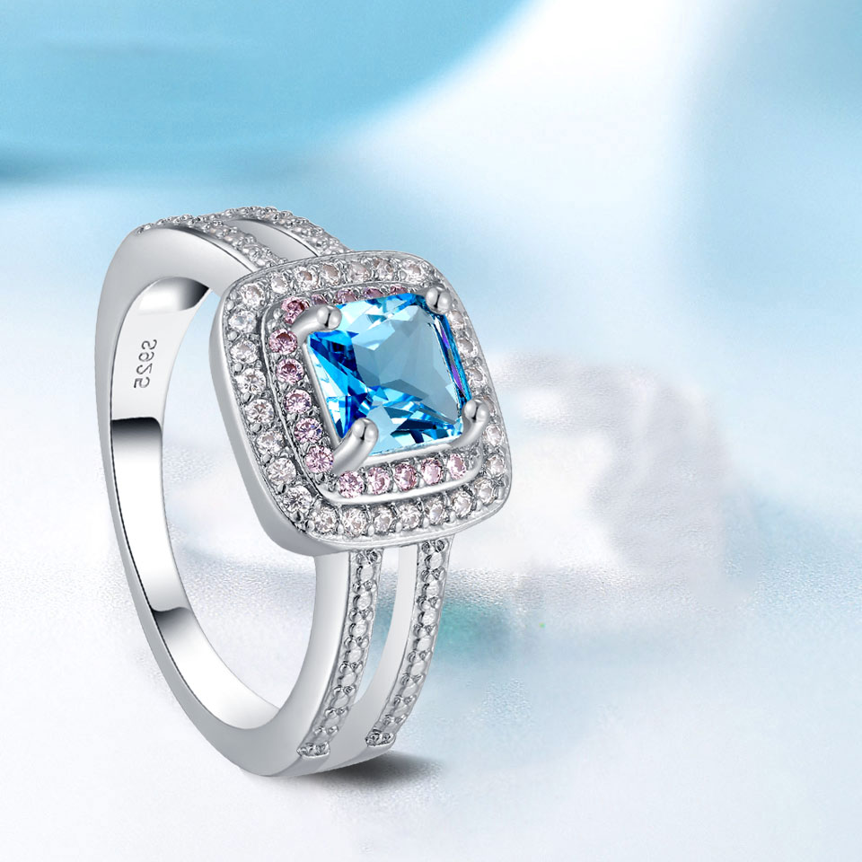 Hot selling new standard 925 Sterling Silver Lady ring classic fashion quality sapphire engagement anniversary gift Prom Package in Rings from Jewelry Accessories