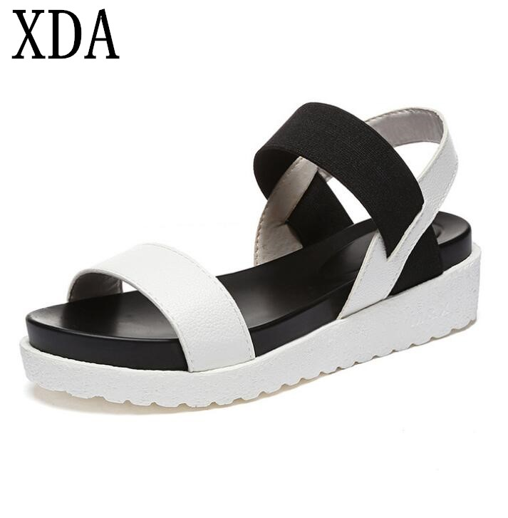 XDA 2018 Women's Sandals Female Casual New Fashion Summer Sandals Roman Peep-toe flats Shoes Roman Sandals Ladies F172 han edition diamond thick bottom female sandals 2017 new summer peep toe fashion sandals prevent slippery outside wear female