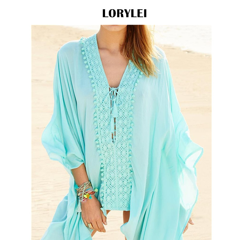 3448bc14c Women Summer Fashion Pool Cover Up Party Dress Sexy Lace Up Batwing Sleeve Beach  Tunic Cotton