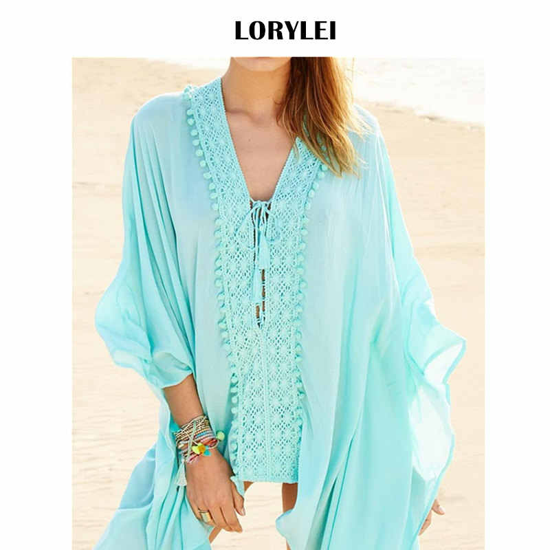 290d863bc70 Women Summer Fashion Pool Cover Up Party Dress Sexy Lace Up Batwing Sleeve  Beach Tunic Cotton