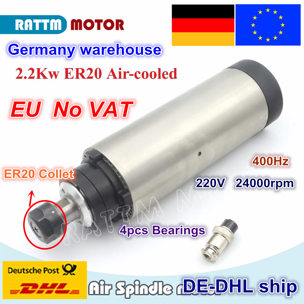 DE free VAT 2.2KW Air Cooled air cooling Spindle motor ER20 24000rpm 80x230mm 220V FOR CNC ROUTER ENGRAVING MILLING Machine цены