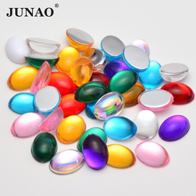 JUNAO 10x14mm 13x18mm Mix Color Cabochon Rhinestones Acrylic Flatback Gems Oval Crystals Beads Non Sewing Strass for DIY Crafts gorgeous artificial crystals rhinestones oval necklace for women