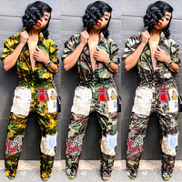 Camouflage Pachwork Straight Long Jumpsuits 2018 Autumn Woman Turn Down Collar Long Sleeve Thick Overalls With Zipper S3454 1