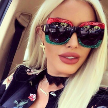 Fashion Square Sunglasses Women Luxury Brand Designer Oversi