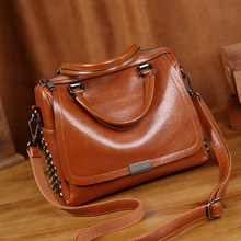 Genuine Leather Handbags Luxury Brand Women Bags 2019 Vintage Crossbody Bags For Women Shoulder Chain Bags bucket sac a main T12(China)