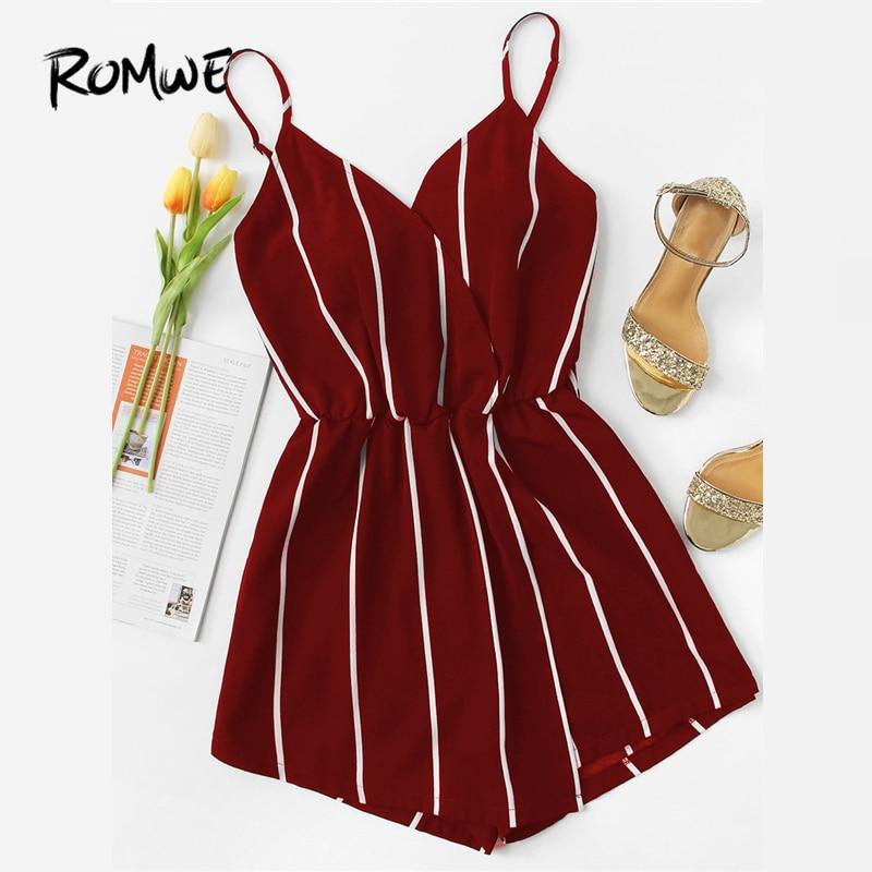 ROMWE Vertical Striped Cami   Romper   2019 Glamorous Chic Red Wide Leg Summer Mid Waist Womens   Romper   Sleeveless Sexy   Romper