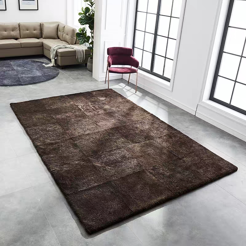 Tapis de fourrure en peau de mouton naturel de couleur marron massif de style Simple, petit tapis de salon en fourrure de mouton douce bouclée, tapis de sol en fourrure
