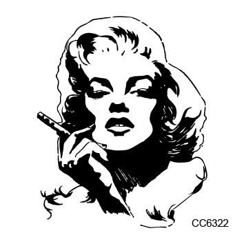 Old School Style Black Marilyn Monroe  Vintage Temporary Tattoo Sticker Body Art Water Transfer Fake Tattoo 6X6cm