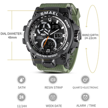 SMAEL 2019 Military Watches Mens Waterproof 50m Dual Display Mens Sport Watch Chronograph Clock relojes hombre Wrist Watch 8011 1