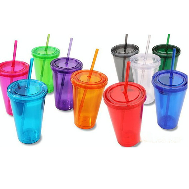 Double Wall Plastic Tumblers With Lids Straws 16oz