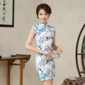 High Quality Chinese Women Mini Dress Partysu Women Party Slim Dress Chinese Short Sleeve Sexy Cheongsam Free Shipping JQY175008