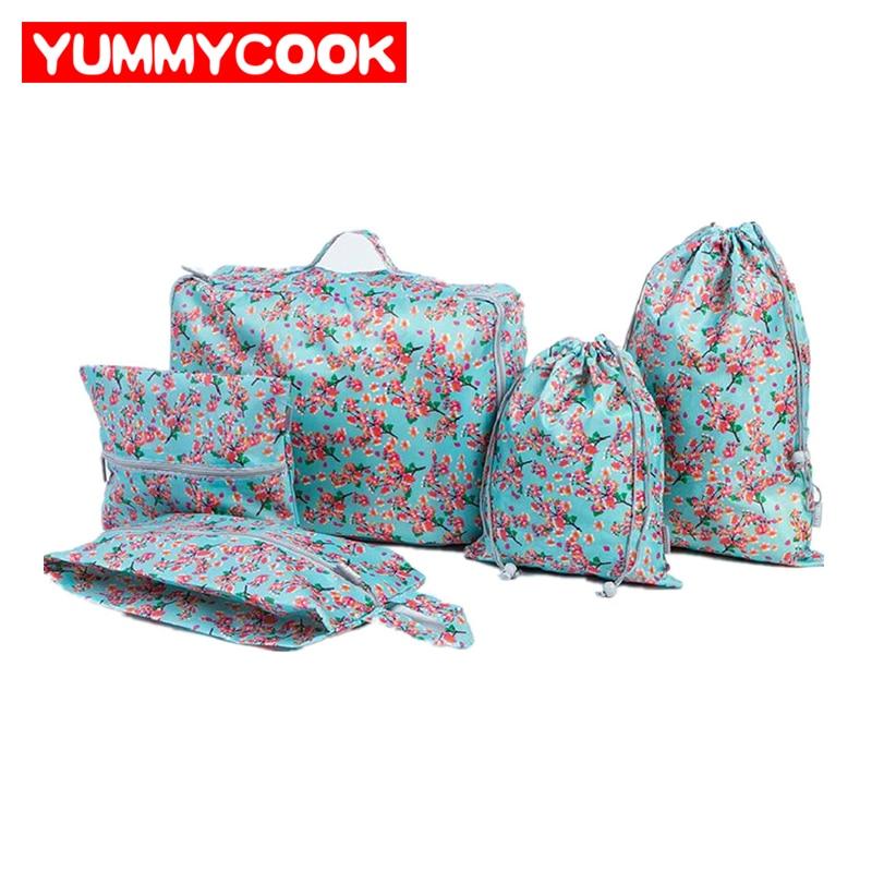 5 Pcs /Set Storage Bag Clothes Cosmetic Drawstring Shoe Bra Sorting Travel Pouch Portable Organizer Accessories Bulk Supplies