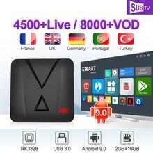 IPTV France Arabic Italia Canada Portugal UK MX10 MINI Android 9.0 2G+16G USB3.0 French IP TV Box
