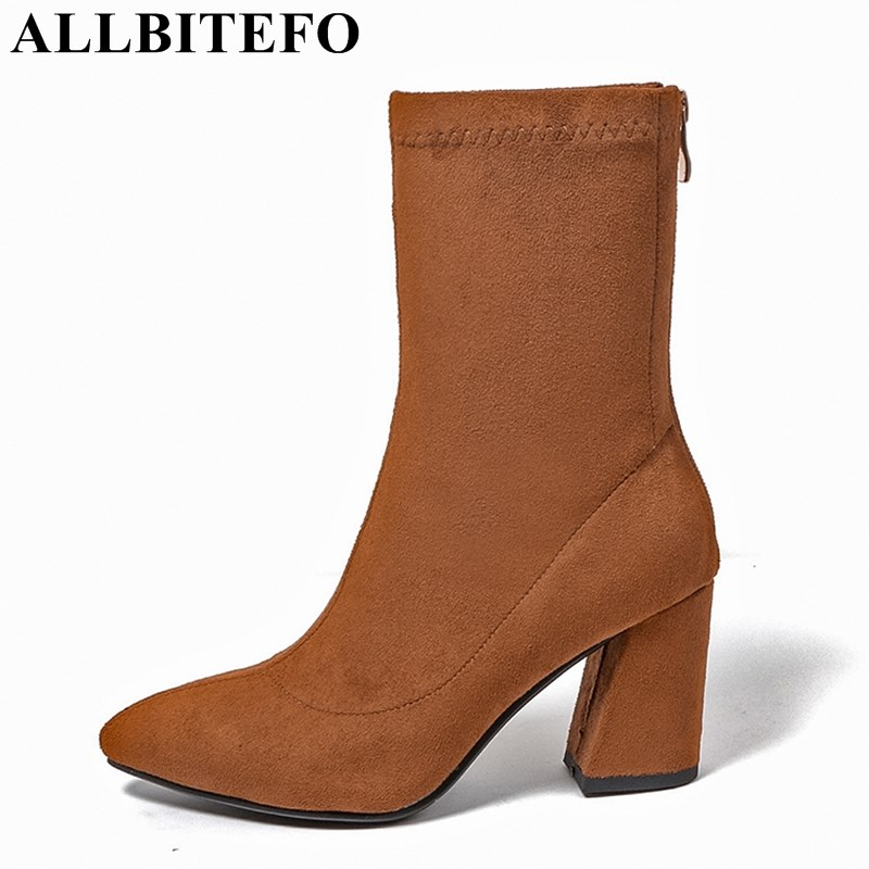 ALLBITEFO thick heel flock pointed toe high quality women boots brand medium heel Martin boots girls boots ladies shoes woman sweet women high quality bowtie pointed toe flock flat shoes women casual summer ladies slip on casual zapatos mujer bt123