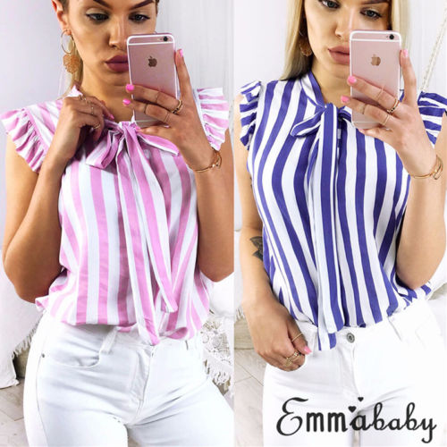 Summer Top Elegant Work Women Striped Blouses Bow Tie Neck Butterfly Sleeve Workwear Striped Blouse