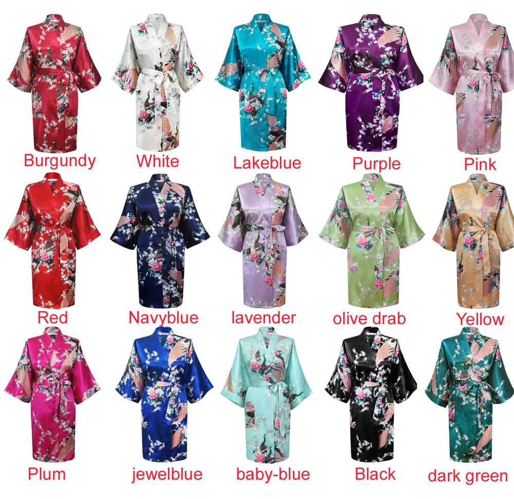 Wholesale Flower&Peacock Kimono Bathrobe Women Satin Soft Sleepwear Sexy Mini Bride Bridesmaid Wedding Robe Dressing Party Gown