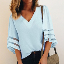 4 Colors 2018 Summer Loose Flare Sleeve Shirts Women V-Neck Mesh Patchwork Casual Blouse