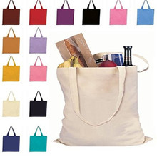 wholesales 400pcs/lot Custom Size Blank Reusable Natural Cotton Canvas Shopping Tote Bag with Long Handles for Promotion Gifts