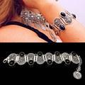 2016 Fashion Bohemian Vintage Carve Bracelets for Women Charm Geometric Black Acrylic Gem Bracelets Femme Turkish Jewelry