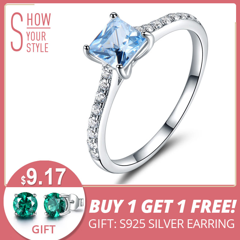 UMCHO Sky Blue Topaz Ringar För Kvinnor Real Solid 925 Sterling Silver Koreanska Fashion Ring Birthstone Girl Gift Wholesale Smycken