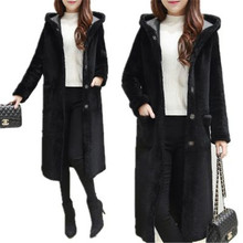 Korea Style 2017 New Winter Women Coat Fashion Warm Big Hooded Medium Long Lamb Wool Coat Thick Warm Winter Down Coat SK188