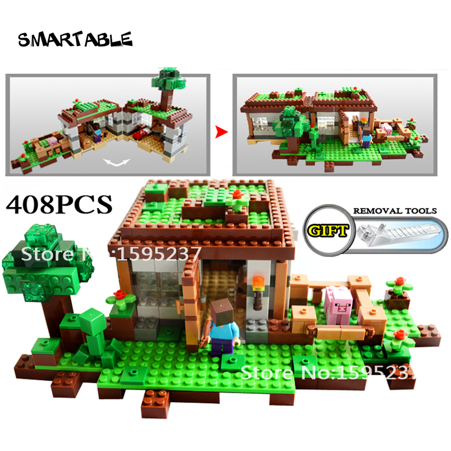 Smartable building blocks 408pcs First Night Minecrafted steve Creeper action figure toys Compatible Legoes Minecrafted цена