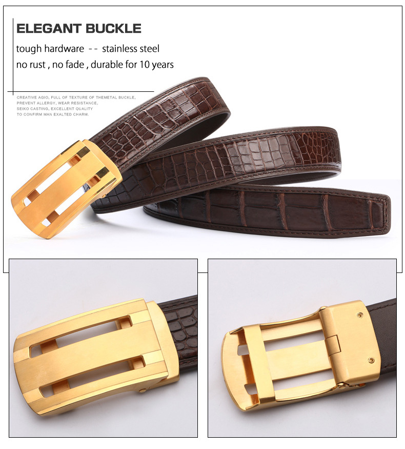 Mcparko Genuine Alligator Leather Belt Men Agate Inlaid Automatic Buckle Real Crocodile Belt Luxury Brand Birthday Gift Male Elegant And Sturdy Package Men's Belts