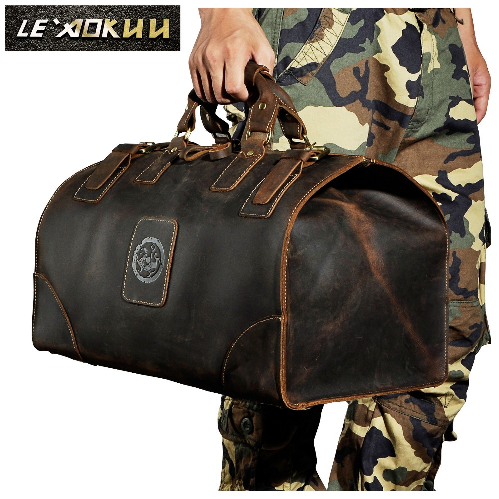 купить Men Genuine Leather Large Capacity Vintage Design Duffle Bag Male Fashion Travel Handbag Luggage Bag Suitcase Tote Bag 8151b по цене 5715.72 рублей