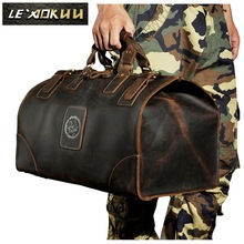 Hög kvalitet! Mens Äkta Real Cowhide Leather Duffle Gym Travel Bagageväska Messenger Shoulder Bags 803165