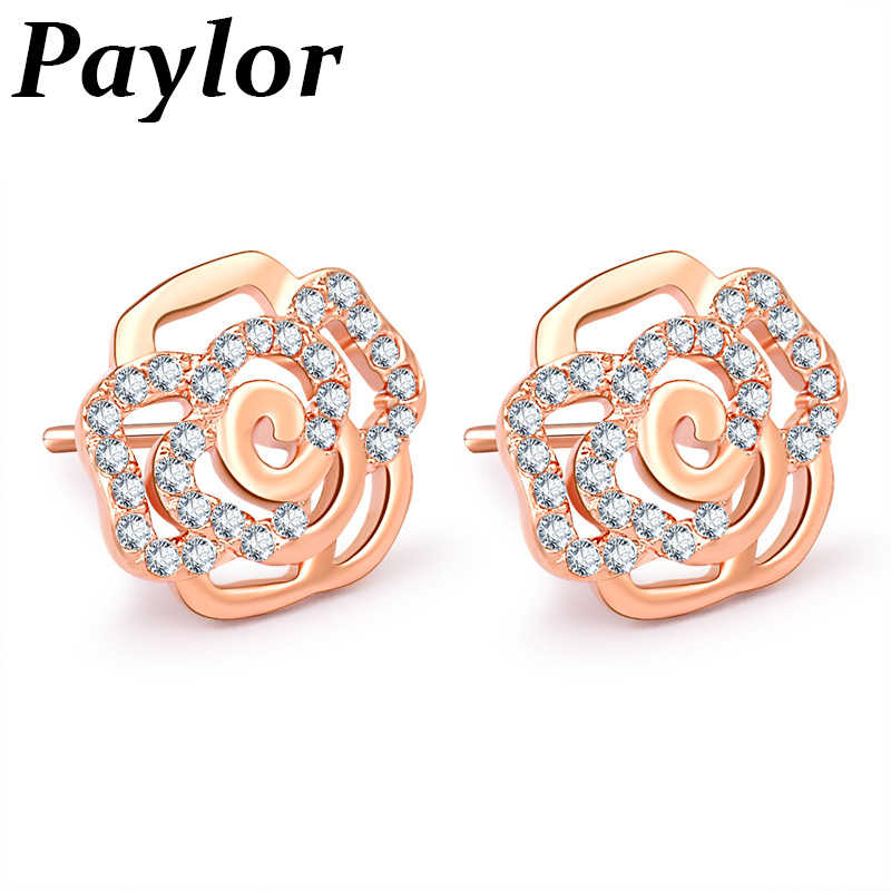 Paylor New Fashion Rose Gold Silver Color Romantic Rose FlowerBrand Stud Earrings for Women Girls Birthday Jewelry Gifts