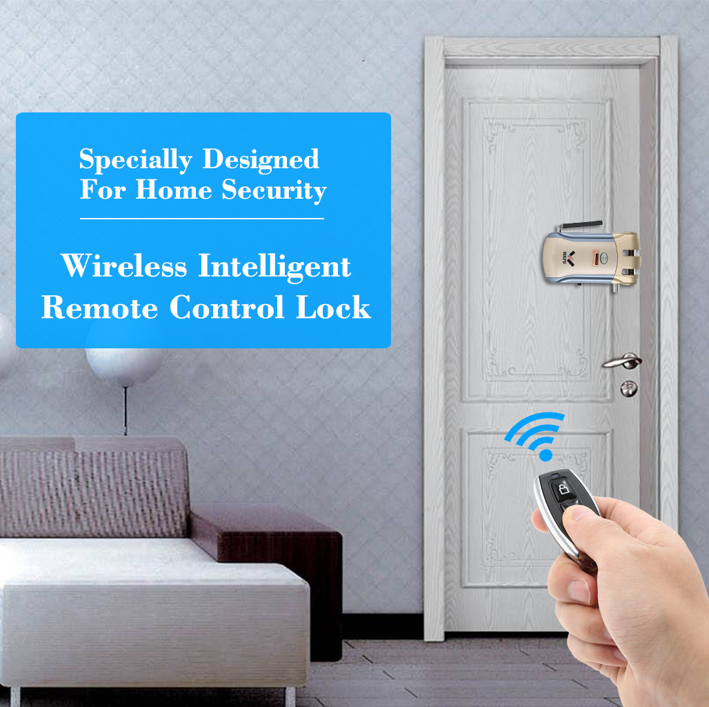 2018 New Wireless Remote Control Electronic Lock Invisible Keyless Entry Door Lock with 4 Remote Controllers remote control wireless networked hotel door lock with door magnetic l180