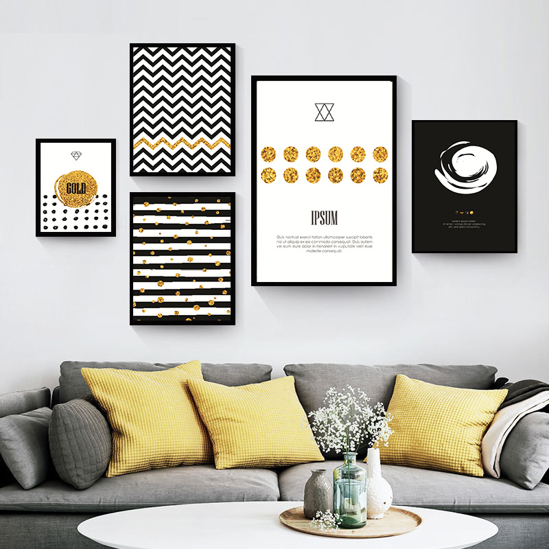 Black White Gold Bedroom Wall Decor Ideas For Bedroom Pinterest Bedroom Colors For Walls Bedroom Paint Ideas India: Black Gold And White Letter Nordic Canvas Painting