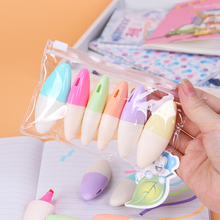 6 PCS Cute Mini Highlighter Leaf Paint Marker Pen Drawing Stationery School Office Supply Kids Gift 12 18 24 pcs set washable highlighter pen marker for school kids gift drawing paint diy doodle color stamp seal pens stationery