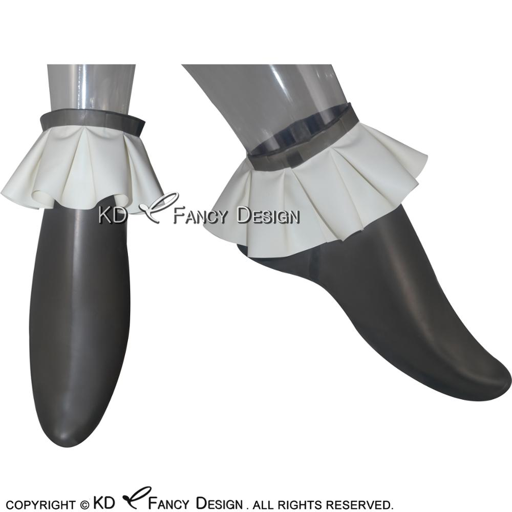 Transparent Black With White Sexy Short Latex Socks With Ruffles On Top Rubber Socks WZ-0002