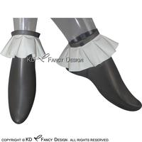 Transparent Black With White Sexy Short Latex Socks With Ruffles On Top Rubber Socks WZ 0002