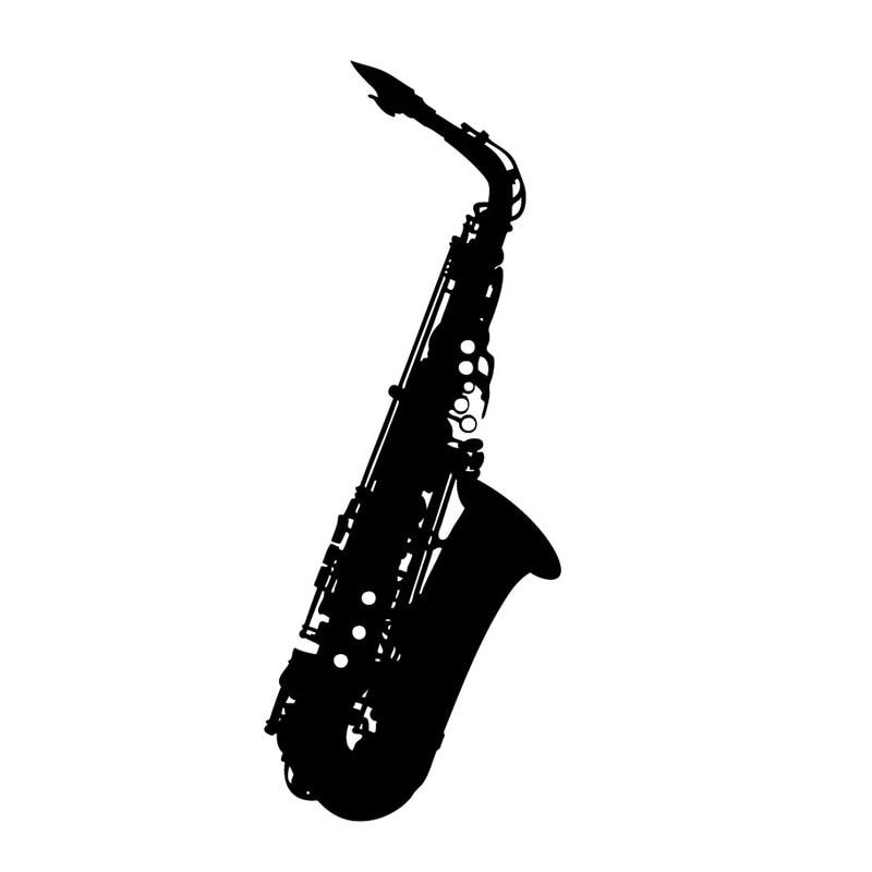 MM54 Modern Style Bedroom Saxophone Wall Decor Sticker Black ...
