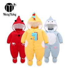 цена на Winter Baby infant warm Rompers 3pce set dinosaur clothes + hat + shoes Newborn Hooded Jumpsuit Boys Girls Down cotton Overalls