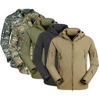 New MEN Army Military Style Tactical Soft Shell Warm Fleece Waterproof Coat Male CAMO Shark Skin Outdoors