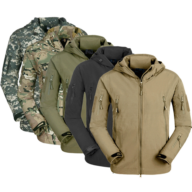 New MEN Army Military Style Tactical Soft Shell Warm Fleece Waterproof Coat Male CAMO Shark Skin Outdoors
