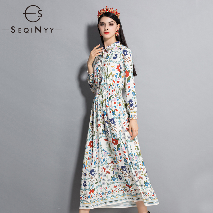 SEQINYY Flower Printed Dress 2018 Summer Spring New Fashion Runway Women s Elastic Waist Long Sleeve