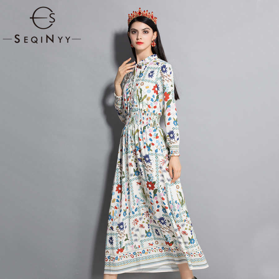SEQINYY Flower Printed Dress 2018 Summer Spring New Fashion Runway Women's Elastic Waist Long Sleeve Loose Dress Plus Size XXL