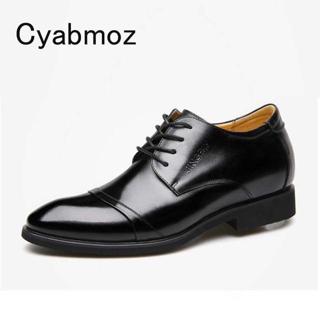 """Cyabmoz חדש גברים עסקי שמלת נעלי גובה הגדלת 6 ס""""מ קלאסי חתונה נעליים רשמיות גברים פרה פיצול עור מעלית נעליים"""