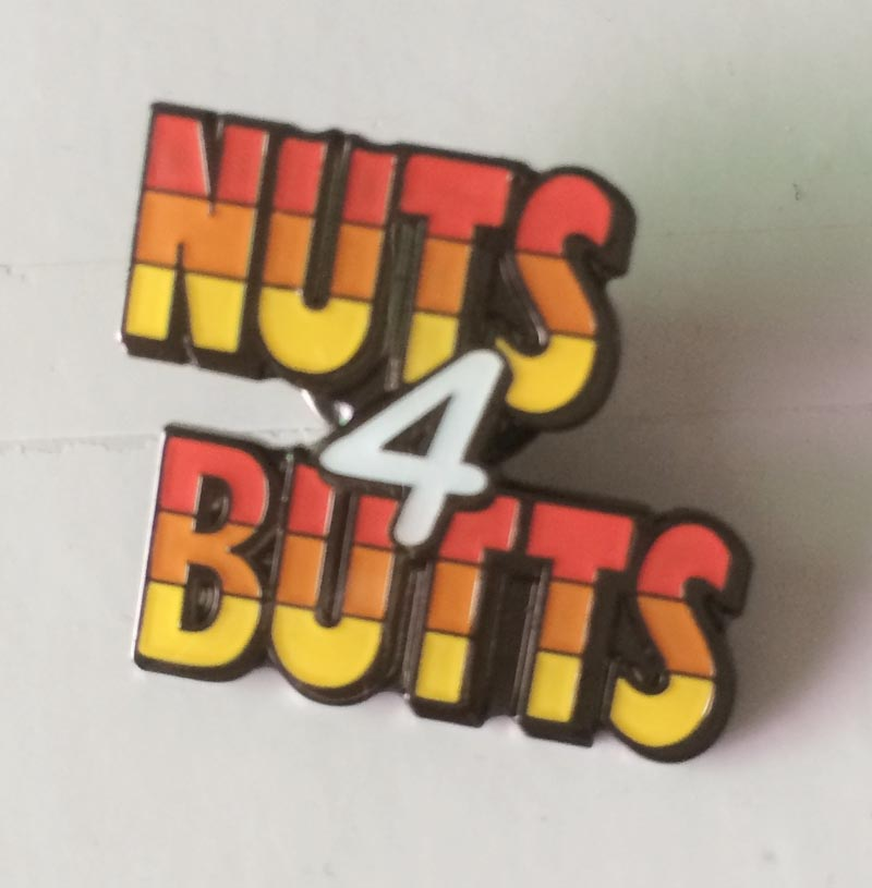 Nuts Butts Metal Pin/Silver Lapel Pins Made by Iron Black Nickel Plating&Epoxy Surface with Butterfly Button Customize MOQ50pcs