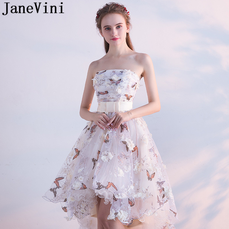 JaneVini Butterfly 3D Flowers Floral Hi Lo Homecoming Dresses Short Front Long Back Strapless Bridesmaid Dresses
