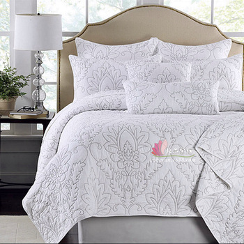 warm Comfortable 3pcs  1* bedspread 2 *pillowcases simple Countryside Quilt Set Queen Quilted Bedspreads